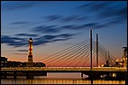 Malmö, SWE, Sweden, architecture, blue hour, bridge, clouds, evening light, flood-lit, Inre Hamn